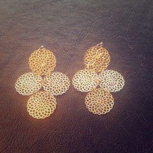 Silver Dangle Circle Earrings